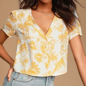 Sunshine White Tropical Print Button-Up Top